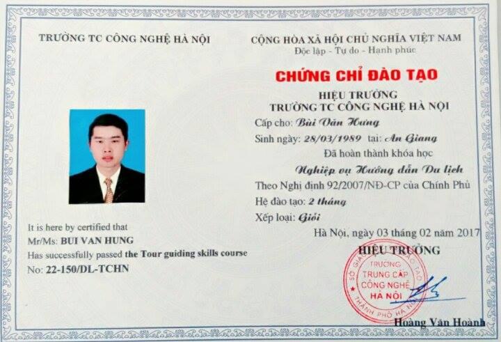 mẫu chứng chỉ nghiệp vụ hướng dẫn du lịch cấp thẻ